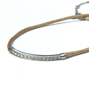 Express Rhinestone Bar and Gold Leather Necklace